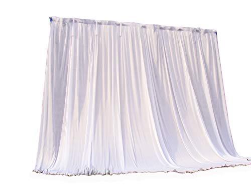 3M × 3M Weiß Ice Seide Hintergrund Vorhang ohne Swag für Hochzeit Party Event Dekoration