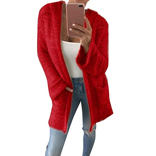 ESAILQ Damen Mantel Mit Kapuze Stricken Cardigan Pocket Long Sleeve Beiläufige Lose Outwear(Large,Rot) -