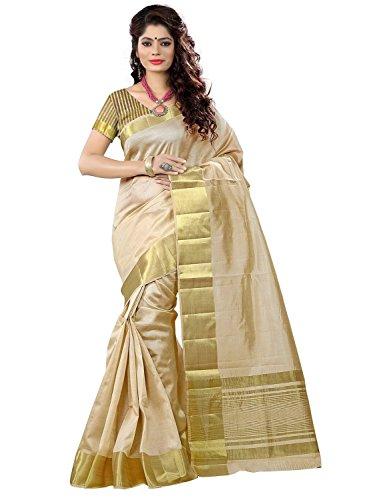Poplin Cotton Silk Saree (Linecot-Queen_Beige Golden)