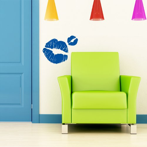 Adesivi Creativi adesivo sticker murale Bacio blu Dimensioni 45 X 36 cm | wall stickers (36 Sticker Murale)