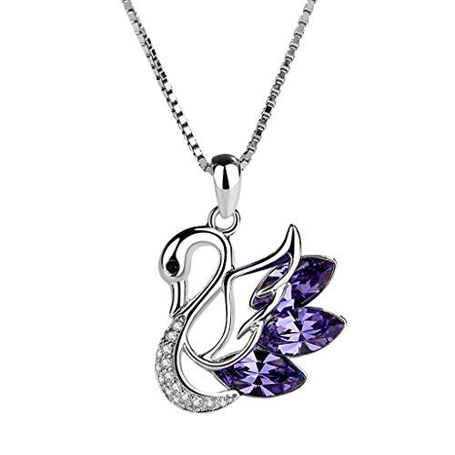lskette S925 Silber Schlüsselbein Kette Intarsien Bohrer Einfache Mädchen Schmuck Geschenk (Color : Purple) ()