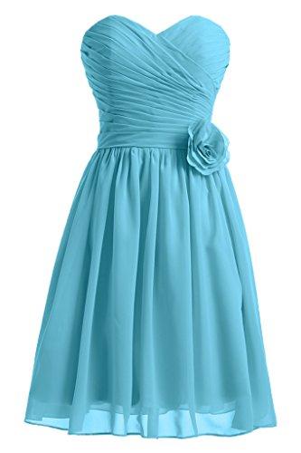 Sunvary Liebling Herzform mit Blumen Abendkleider Kurz Chiffon Cocktailkleider Brautjungfernkleider Partykleider Blau