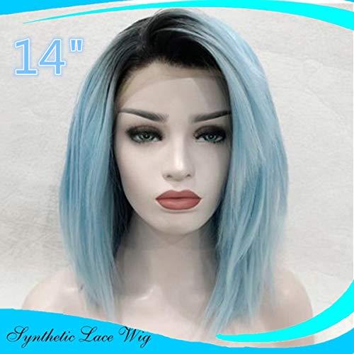 Blaue Perücken Damenperücke kurz, Luckyfine Blau Lace Front Perücke schulterlang, Glatte Perücke Cosplay Perücke, Natürliche Wie Echthaar Synthetische Perücke hell blau 14 ''