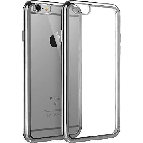 iPhone 6 case,Easymoo Ultra Slim Design Silicone Clear Case Electroplate Frame Bumper Protective Case for iPhone 6 6s -- Silver Gray
