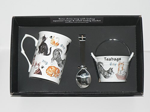 cats-and-kittens-chintz-bone-china-mug-with-teabag-squeezer-tongs-and-teabag-tidy-bucket
