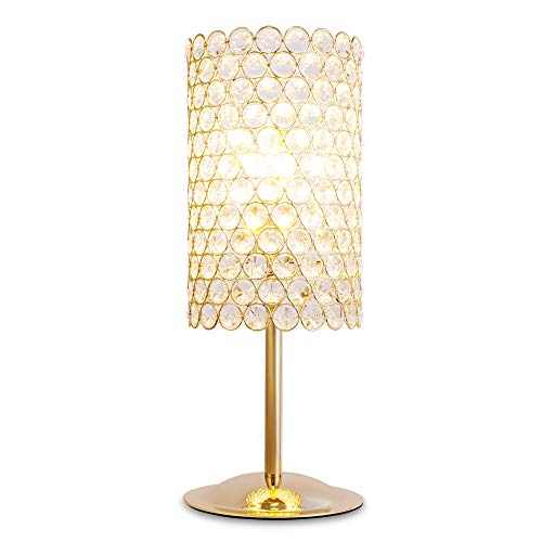 SPARKSOR Kristall Tischleuchte Nachttischlampe Retro Industrie Stil Messing 3-Licht Einfache Schreibtischlampe Für Wohnzimmer (Für Schlafzimmer Messing-tisch-lampen)