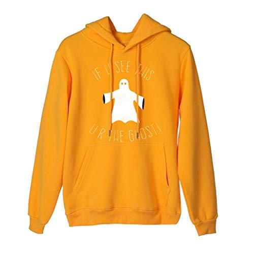 GOKOMO Halloween Pullover Sweatshirt Damen Lang LangäRmliges Oberteil Party Frauen Langarm T-Shirt Bluse Tops Kapuze Hoodie(Gelb-b,X-Large) (Batman Kutte Kostüm)