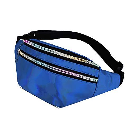 WD&CD Glitzer Bauchtasche Gürteltasche Damen Herren Blau, Sport hüfttasche wasserdicht 3 Fächer mit Reißverschluss Verstellbarer Gurt für Einkaufen, Laufen, Reisen, Party