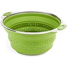 iNeibo Kitchen scolapasta/scolatutto, scolapasta pieghevole in silicone e acciaio inox di alta qualità con un design moderno, 100% silicone alimentare termoresistente privo di Bpa, colore (Verde)