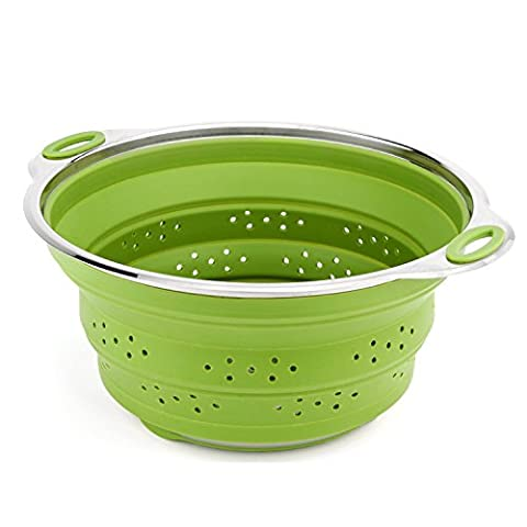 iNeibo Collapsible Colander Best Stainless steel and Silicone Compact Kitchen Food Strainers (Piatto Gigante)