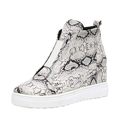 MakefortuneDamen Leder Wedge Trainer Damen Side Zip High Top Stiefeletten Sneaker Pumps Sportschuhe Größe 4-8 -