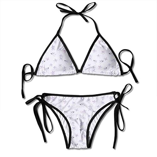 Women's Swimsuit Two Pieces Bikini Set, Soulful Spring Nature Theme with Small and Single Blossoms,Swimwear Bathing Suits -