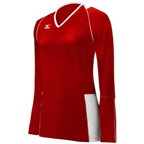Mizuno Damen Klassische Kailua Long Sleeve Jersey, Damen, 440411.1000.04.S, rot/weiß, S