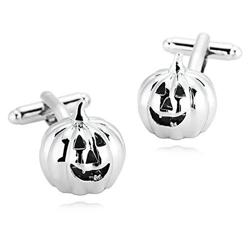ttenknöpfe Edelstahl Silber Kürbis Halloween Jack O Laterne Manschetten Knöpfe mit Kasten (Halloween Batman-kürbis)