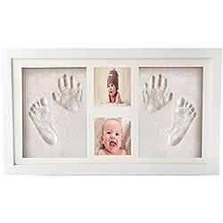 Joyeee Marco de Fotos para Bebé, Kit de Marco de Huellas de Mano y pie de bebé, 3D Marco de Huellas para Niños, Regalos Únicos para el Recién Nacido y Fiesta de Bienvenida al Bebé #5