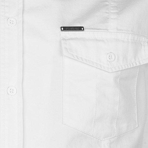 Firetrap Herren Oxhey Army Hemd Kurzarm Brusttaschen Knopfleiste Baumwolle Weiß