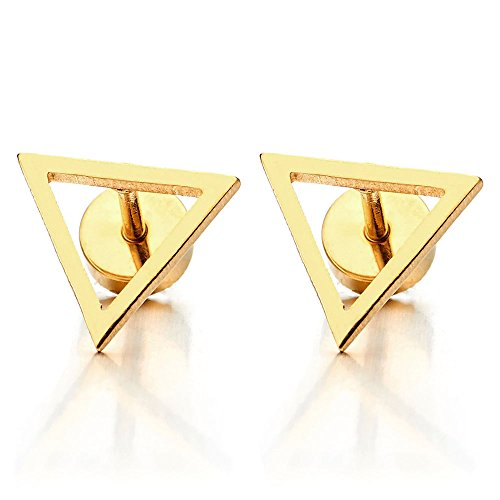 Unisex Stainless Steel Gold Color Open Triangle Stud Earrings for Man and Women, Screw Back 2pcs