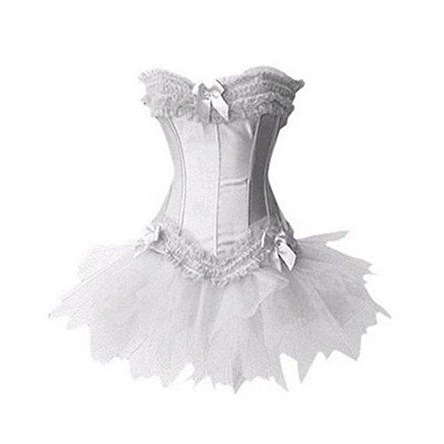loveorama.de FeelinGirl Corsage mit Mini-Rock Party Dress Fancy Petticoat Corsagenkleid Korsett Kleid Hochzeit L Weiß