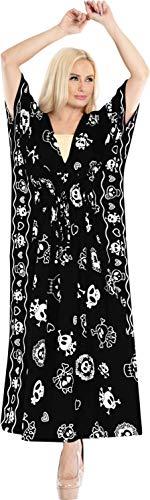 LA LEELA Pumkin Scary Grusel Halloween Kostüm Frauen Damen Kaftan Tunika Gedruckt Kimono freie Größe Lange Maxi Party Festliche Kleider für Lounge Urlaub Nachtwäsche Strand jeden Tag (Gute Scary Kostüm)