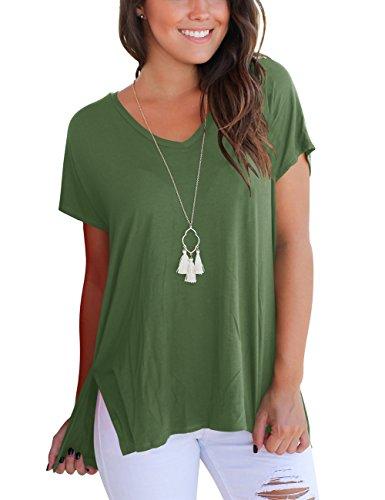 Basic Oversie Kurzarmshirts Damen V-Ausschnitt T-Shirt Sommer Unregelmäßige Pullover Grün S (Pullover Damen-ausschnitt)