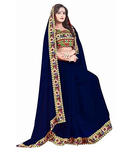 SareeShop Printed NavyBlue & NavyBlue Georgette Traditional Festival Wear Women's Saree.