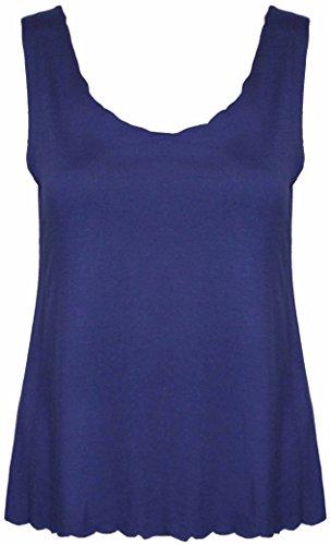 Purple Hanger - Débardeur Femme Court Nombril Uni Été Coupe Ample Bordure Coquille Neuf Bleu Marine