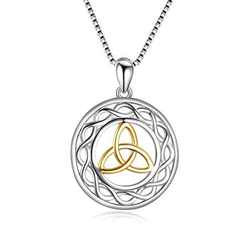 tte 925 Sterling Silber Keltisch Triquetra Trinity Knoten Anhänger Halskette Religiös Schmuck für Damen Mädchen ()