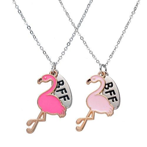 BFF beste Freunde für immer Anhänger Halskette Set für 2 Mädchen (Flamingo) (Beste Freunde Halskette Set)