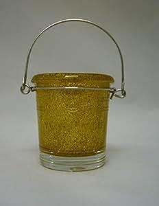 Yankee Candle Bougie parfumée Seau en verre support à paillettes or