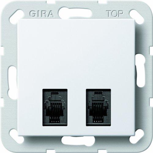 Gira 590703 - Modulo con 2 connettori per presa di diagnostica, sistema 55, colore: bianco puro