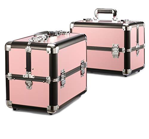 Große Multifunktionale Aluminum-KosmetikCase Beauty Nail Professional Portable Toolbox,Pink