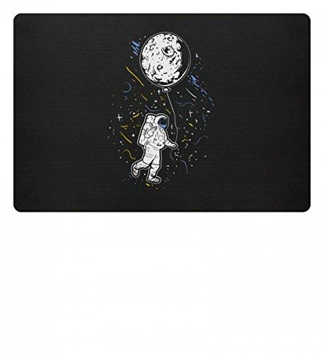 Hochwertige Fußmatte - Astronaut Mit Ballon - Mond Weltraum Raumfahrer Galaxie Science Fiction Sci-Fi ()