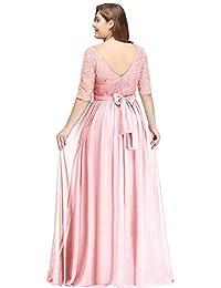 97727bef9e4 Misshow Damen Übergröße Abendkleid Spitze Chiffon mit Ärmel Elegant Lang  Ballkleid