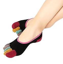 Yoga Socks Vovotrade Womens 5-Toe Colorful Yoga Gym Non Slip Soft Ventilation Massage Toe Socks Black-A