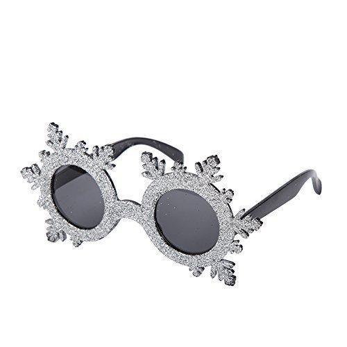 Neuheit Weihnachten Kostüm Brille (Silber Glitzer Schneeflocken)