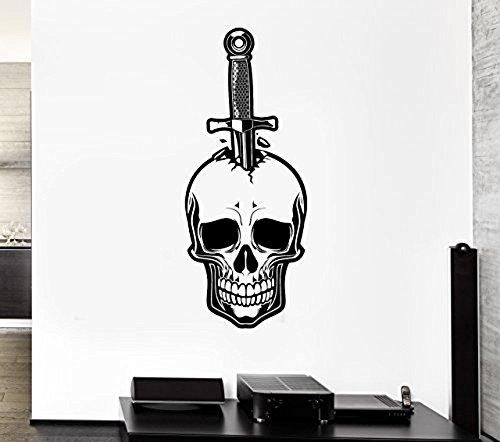 GGWW Wall Decal Skull Knife Dagger Death Fear Skeleton Mural Vinyl Stickers (Ed033)