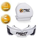 FIGHT MIND Defender Profi Mundschutz-Premium Zahnschutz + EBook + Box + mehr O₂ + BPA freier Zahnschutz für Hockey, Boxen, Kampfsport, American Football, MMA, Kickboxen, Muay Thai, Krav MAGA