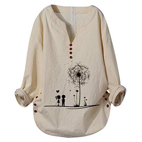 Lomsarsh Frauen Casual Sommer T-Shirt Plus Size Frauen Langarm V-Ausschnitt und gedruckte Leinen Lose Tops Übergroße Bluse