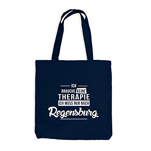 Jutebeutel - Ich Brauche Keine Therapie Regensburg - Urlaub Therapy Relax Navy