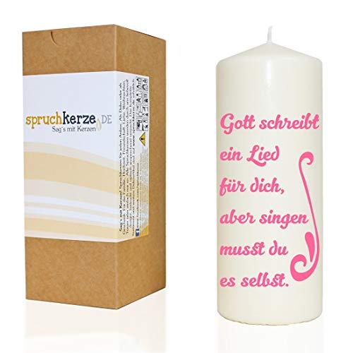 WB wohn trends Spruchkerze ~ Gott schreibt dir EIN Lied ~ rosa ~ 20cm ~ 680g Ø7,5cm ~ Kerze mit Spruch ~ Brenndauer ca 70 Std