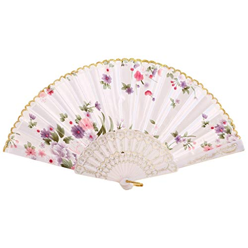 YEARNLY Beste Chinesische Tanz Hochzeit Party Spitze Silk Folding Handheld Fan, Fan, Dekorative Fan, Retro Fan, Dance Fan