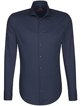 SEIDENSTICKER Herren Hemd Slim Langarm Bügelfrei Streifen Businesshemd Hai-Kragen Kombimanschette weitenverstellbar