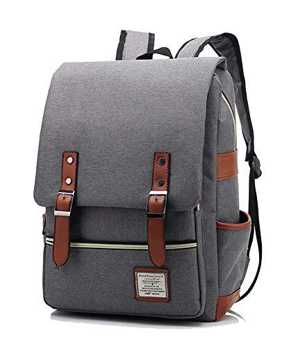 AINIBAB Unisex 39,6 cm (15,6 Zoll) Laptoprucksack Retro Casual Daypacks Outdoor Sport Stilvoller Reiserucksack Canvas Rucksack Grau grau 11.6