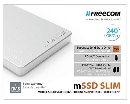 Freecom Mobile Drive externe SSD 2.5' - 240 GB - tragbarer Datenspeicher mit USB 3.1, Übertragungsgeschwindigkeit bis zu 430 MB/s, silber, 56418