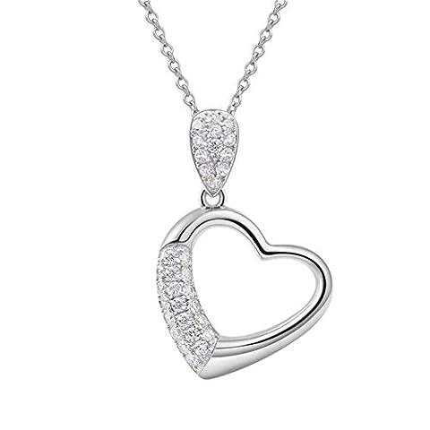 XG Weiß Gold-Plated Lady 925 Heart-FöRmige Mikro-Inlaid AnhäNger Hals Kette Anti-Allergie (Platin Inner Ring)