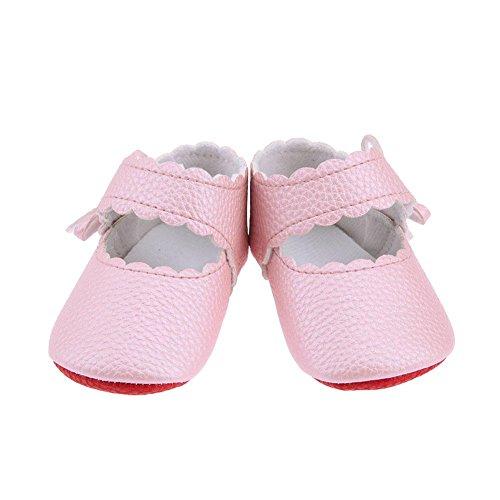 Infant Toddler Prewalker Solid Bowknot Sticker Soft Sole Shoes(Pink/13cm)