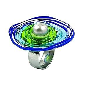 Edelstahl-Ring in Blau-Grün mit Scheibe aus Murano-Glas | passt immer | verstellbar (16-21) | Wechsel-Ring | Personalisiertes Geschenk für sie zu Valentinstag Jahrestag Hochzeit Geburtstag Mama