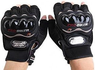 Probiker Leather Half Finger Motorcycle Gloves (Black, M)