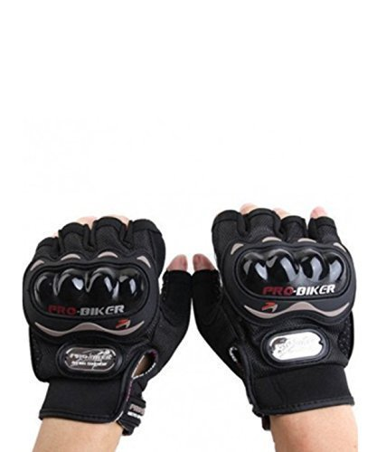 Bulbul general store Men's Leather Gloves for Bike (Black, Large)