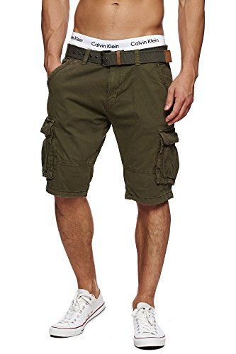 Cargo-jersey-shorts (S!RPREME Herren Outdoor Cargo Shorts inkl. Gürtel Vintage Kurze Hose Bermuda Sommerhose Battlefield 70-042 Army M)